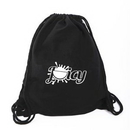 Custom Cotton Canvas Black Drawstring Bag- Backpacks, 13