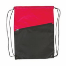 Custom Two-Tone Poly Drawstring Backpack with Zipper, 13