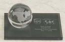 Custom Glass Clear World Globe Award w/ Marble Base (3