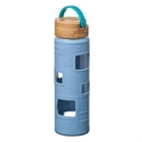 Custom The Astral Glass Bottle w/Teal Lid - 22oz Light Blue, 2.875