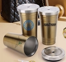 Custom 16 Oz. Double Wall Stainless Steel Coffee Mug with Straw/ Screw-On Lid, 7.5