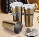 Custom 16 Oz. Double Wall Stainless Steel Coffee Mug with Straw/ Screw-On Lid, 7.5