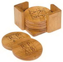 Custom Round Bamboo 6 Coaster Set, 3 3/4