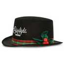 Caroler Hat w/ Plaid Bands & Holly Berry Accents w/ Custom Direct Screen Print