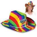 Rainbow Cowboy Hat w/ Custom Printed Faux Leather Icon