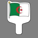 Custom Hand Held Fan W/ Full Color Flag of Algeria, 7 1/2
