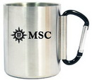 Custom 9 Oz. Stainless Steel Carabiner Mug, black handle, 3