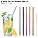 Custom 5 Pack Metal Straws Set with Brush, 8.5 Inch Length, 0.25 Inch Diameter, 215*6 MM, 0.25