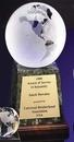 Custom Clear Glass World Globe Award w/ Base (6