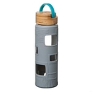 Custom The Astral Glass Bottle w/Teal Lid - 22oz Grey, 2.875