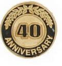 Custom 40 Years Anniversary Round Stock Die Struck Pin
