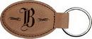 Custom Dark Brown Leatherette Oval Keychain, 3