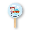 Custom Mini Round Shape Full Color Two Sided Single Paper Hand Fan, 5