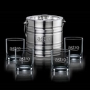 Custom 5 Piece Milano Ice Bucket W/ 4 Aristocrat On The Rocks Glasses