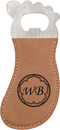 Custom Light Brown Laserable Leatherette Foot Shaped Bottle Opener with Magnet, 4 3/4