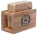 Custom Bamboo Coaster Set W/ Bamboo Holder (Set Of 6), 4 1/2