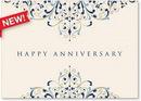 Custom Blue & Gold Anniversary Greeting Card, 7.875