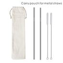 Custom Linen Carry Pouch for Metal Straws, Carry on Pouch bag for Straws, 0.30