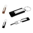 Custom Metallic Black PU Leather Key Fob, 2.76