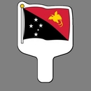 Custom Hand Held Fan W/ Full Color Flag of Papua New Guinea, 7 1/2