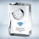 Custom Color Imprinted Beveled Column Optical Crystal Clock, 3 1/2