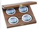 Custom Walnut Wood Presentation Cases with 4 Round Solid Chrome Coasters