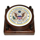 Custom Round Wood 2 Coaster Set w/ Leather Inlay & 4-Color Process, 4