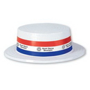 White Plastic Skimmer Hat w/ Custom Digital Printed Band