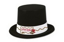 Custom Imprinted Velour Black & White Derby & Topper Hats (1-Color Band Imprint)