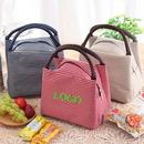 Custom Striped Polyester Insulated Handbag, 8 1/4