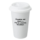 Custom 12 Oz. White Double Wall Porcelain Tumbler Mug, 5 1/2