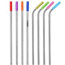Custom Stainless Steel Metal Straws With Silicone Tip, 8.5