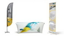Custom Table Cover Kit - 9' Feather Flag + 6' Table Cover + Retractable Standard Roll Up Banner