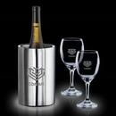 Custom 3 Piece Jacob Wine Cooler Set W/ 2 Carberry Wine Glasses