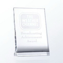 Custom Vertical Optic Crystal Plaque Award (Curved Back) - Small (screened)