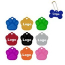 Custom Aluminum Paw Shape Pet ID Tags With Beaded Chain, 1 2/5
