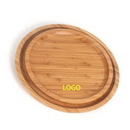 Custom Round Natural Wooden Serving Tray Plate, 11 3/4