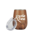 Custom 10 oz Stainless Steel Wood Tone Stemless Wine Glass, 4.5