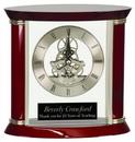 Custom Executive Silver & Rosewood Piano Finish Clock, 7-3//4