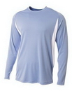 Blank Adult Long Sleeve Color Block Cooling Performance Tee Shirt