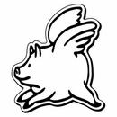 Custom Flying Pig Notekeeper Magnet- 20 Mil Process Color (2-1/4
