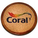 Custom Round Wood Coaster With Cork Inlay, 4