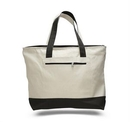 Custom Canvas Zipper Tote Bag (with Color Handles), 18