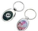Custom Oval Chrome & Black Key Chain Holder, 1 5/16