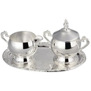 Custom Romantica Collection Silver Cream & Sugar Bowl Set W/ Tray