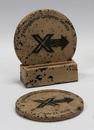 Custom 2-Piece Round Travertine-Texture Coaster Set w/Base w/Wash, 4