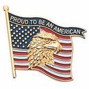Blank Military Award Lapel Pins (Eagle & American Flag/Proud To Be An American), 7/8