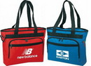 Custom Wide Gusset Poly Tote Bag w/ Built-in Briefcase Features