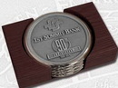 Custom Nickel Plated Boardroom Coaster W/ Pewter Insert - Set Of 4 W/ Holder, 3.75