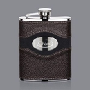 Custom Colchester Hip Flask - 6oz Leather/Stainless Plate, 6